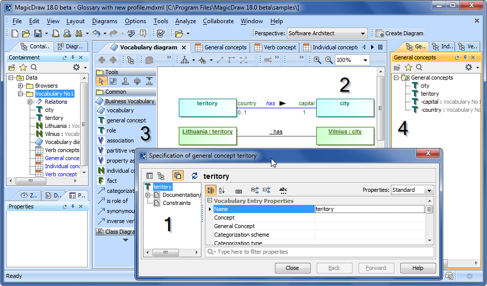 Figure 2. Customized MagicDraw modeling environment for the development of SBVR business vocabularies