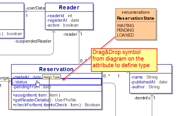 Drag and drop Enumeration from the diagram on the attribute to define type