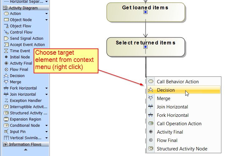 After clicking context menu (right click) choose target element